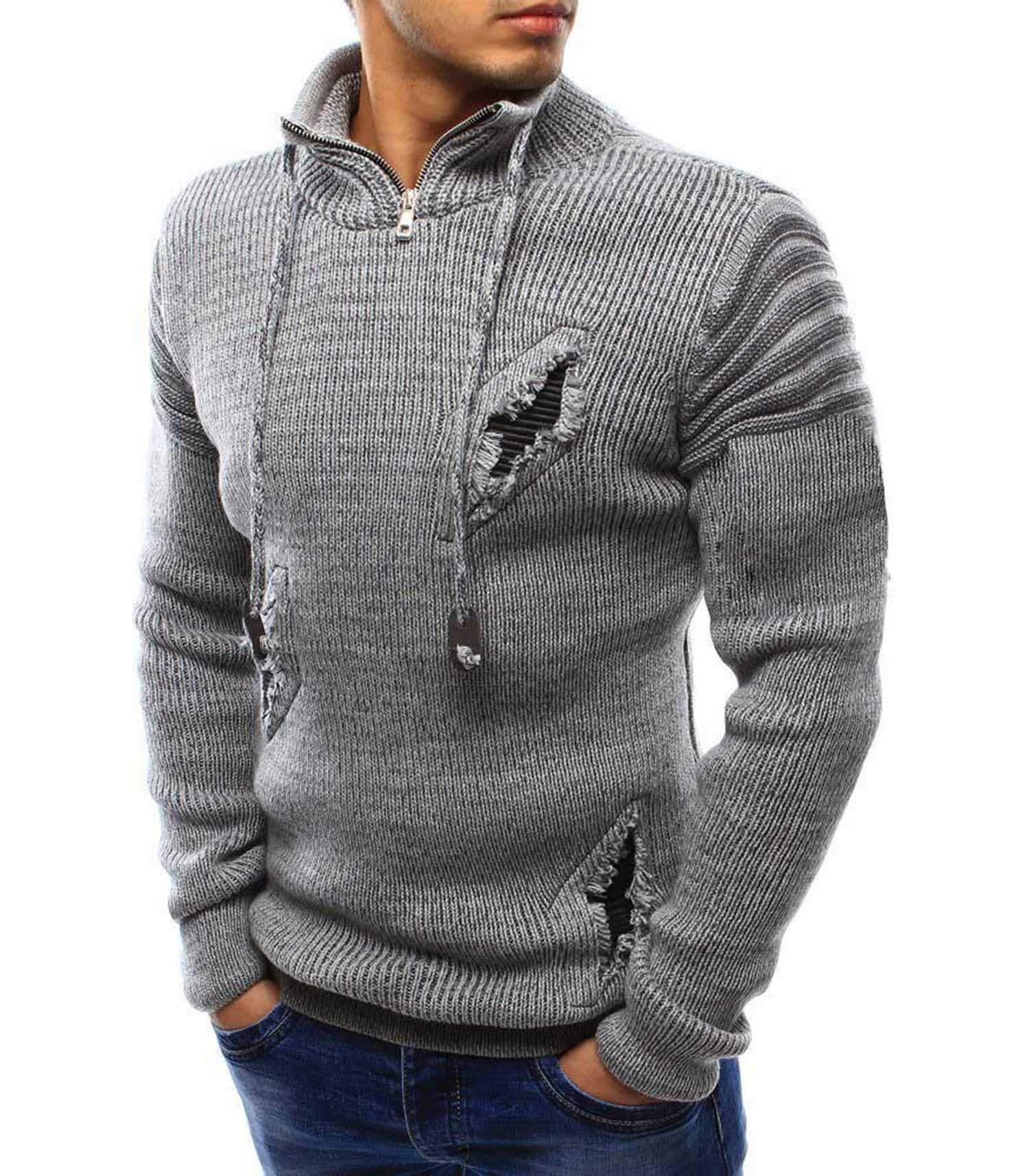 Aderu C Sweaters Sweater Zipper Knitting Unlined Pullover Upper Garment Cashmere Light Gray Light Gray