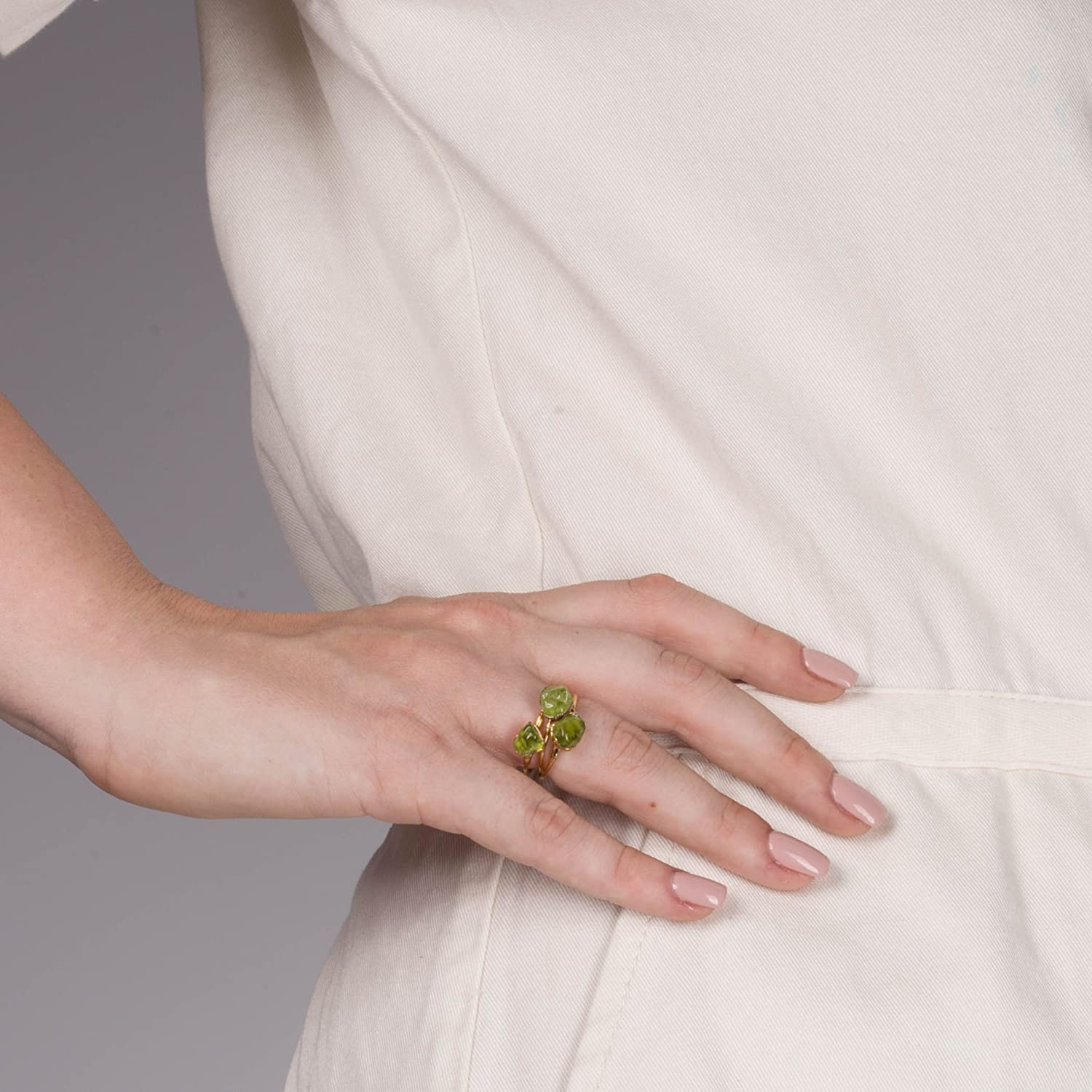 Raw Peridot Ring August Birthstone Sterling Silver Size 5
