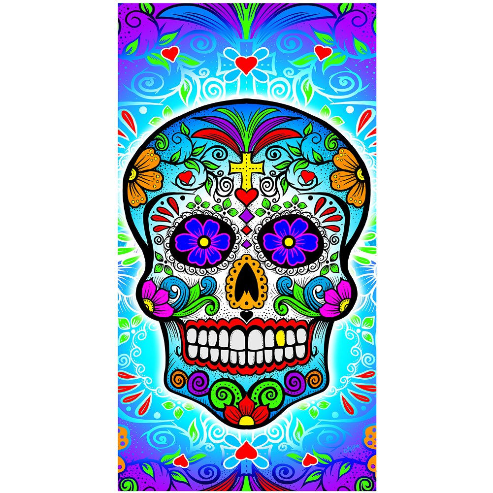 Amazon.com: Earth Ragz Sugar Skull Day of the Dead Beach Bath Gym ...