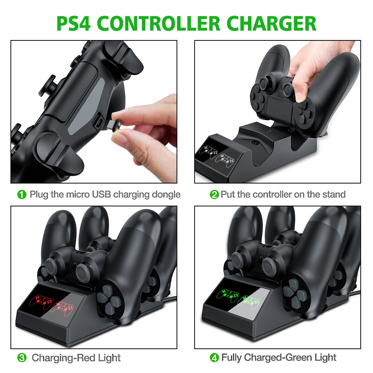 PS4 Controller Charger, BEBONCOOL PS4 Charger with USB PS4 Charging Cable, PS4 Charging Dock for Sony PS4/PS4 Slim/PS4 Pro Controllers with 4 Micro USB Charging Dongles
