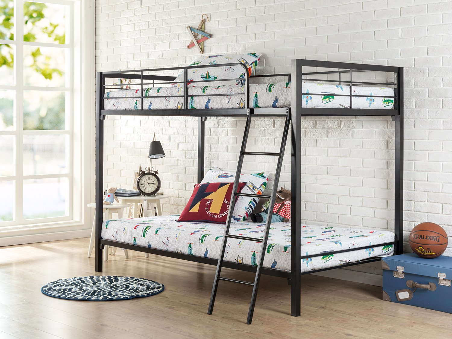 Easy Assembly Quick Lock Twin Over Twin Metal Bunk Bed For