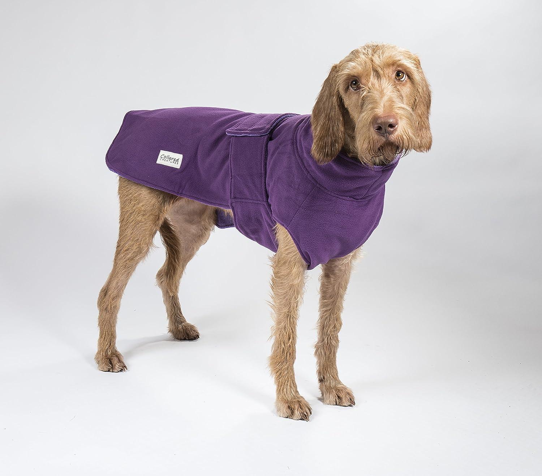 Abrigo de secado para perro, con forro polar morado, de microfibra de toalla, de Collared Creatures, (S 43cm)  (M 48cm) (L 55cm) (L X-L 70cm) (XL 59cm) (XL ...