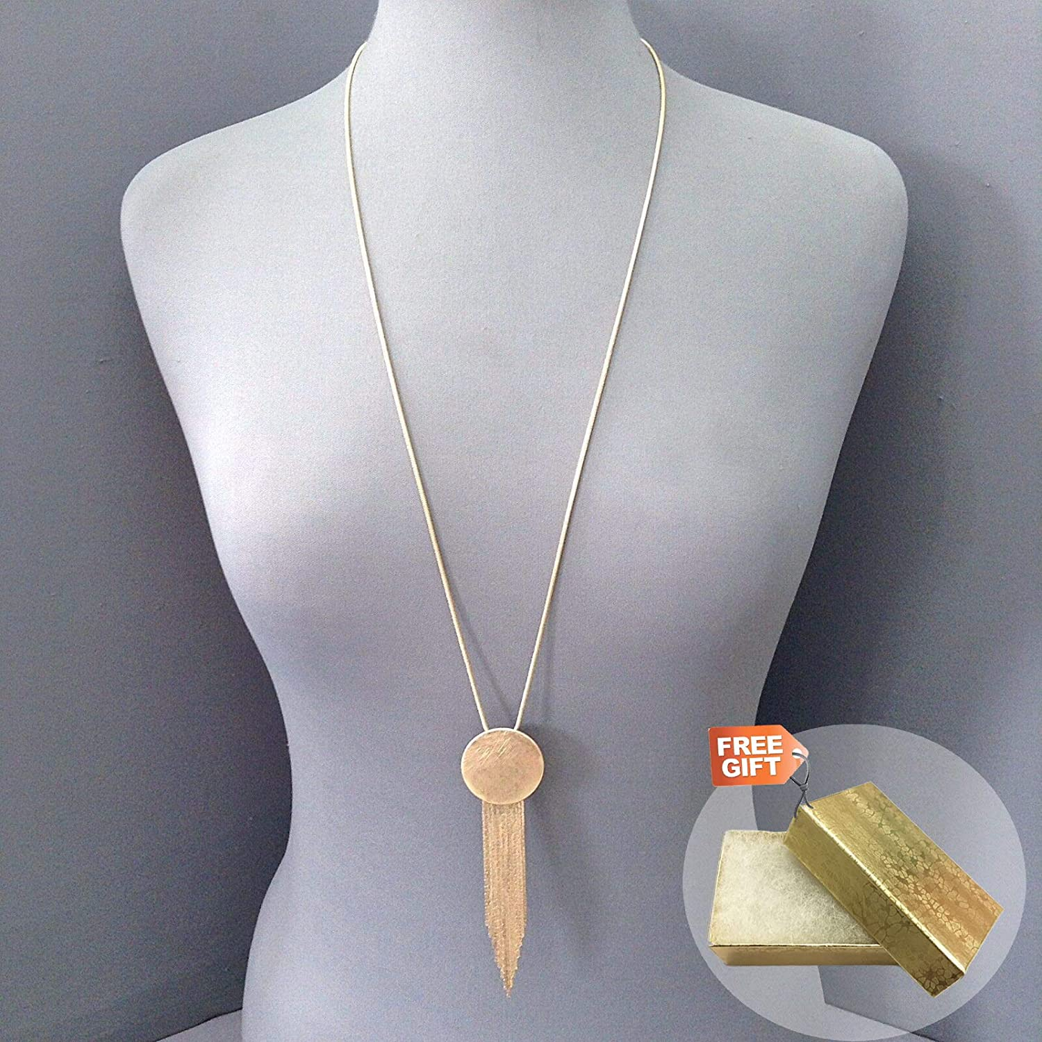 Gold Cotton Filled Gift Box for Free Snakeskin Chain Gold Color Scratched Finished Circle Tassel Pendant Necklace