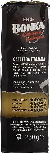 Bonka - Cafetera Italiana - Café Tostado Molido - 250 g - [Pack de ...