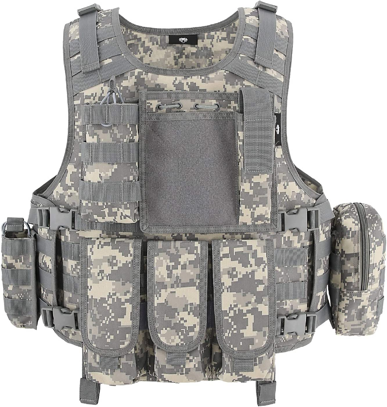 This is an image of a military vest with multiple pockets, camouflage color.