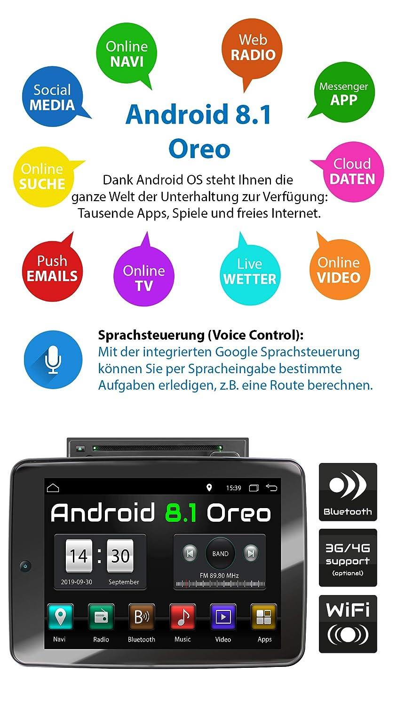 Dab+ SD RDS I 2 DIN 32GB ROM I GPS I Soporte WiFi XOMAX XM-2DA1092 Radio de Coche con Android 8.1 I Quad Core CD 3G 2GB RAM OBD2 I Bluetooth I 10,9 IPS XXL Pantalla T/áctil I DVD 4G USB