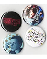 STRANGER THINGS BUTTON SET 4pcs (1inch PIN BACK) GREAT ON JACKETS OR BACKPACK