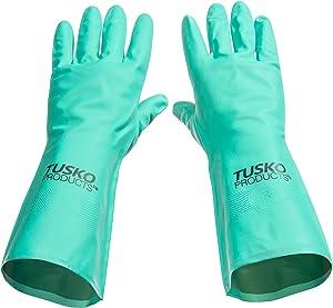 Tusko Products Best Nitrile Rubber Cleaning, Household, Dishwashing Gloves, Latex Free, Vinyl Free, Medium