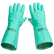 Tusko Products Best Nitrile Rubber Cleaning, Household, Dishwashing Gloves, Latex Free, Vinyl Free, Large