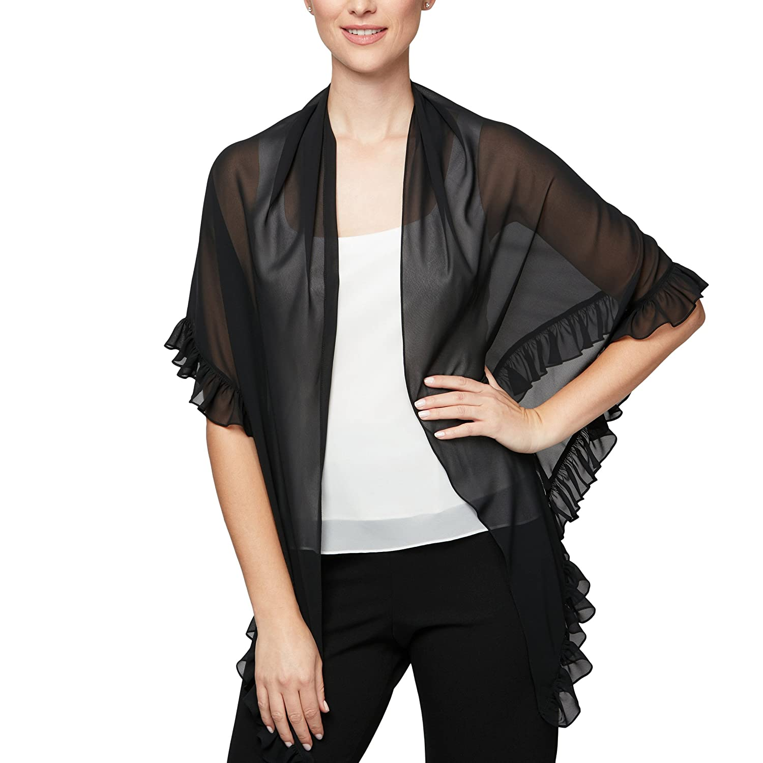 Black Ruffle Alex Evenings Womens 3 4 Sleeve Bolero Shrug Jacket Shawl Special Occasion Dress