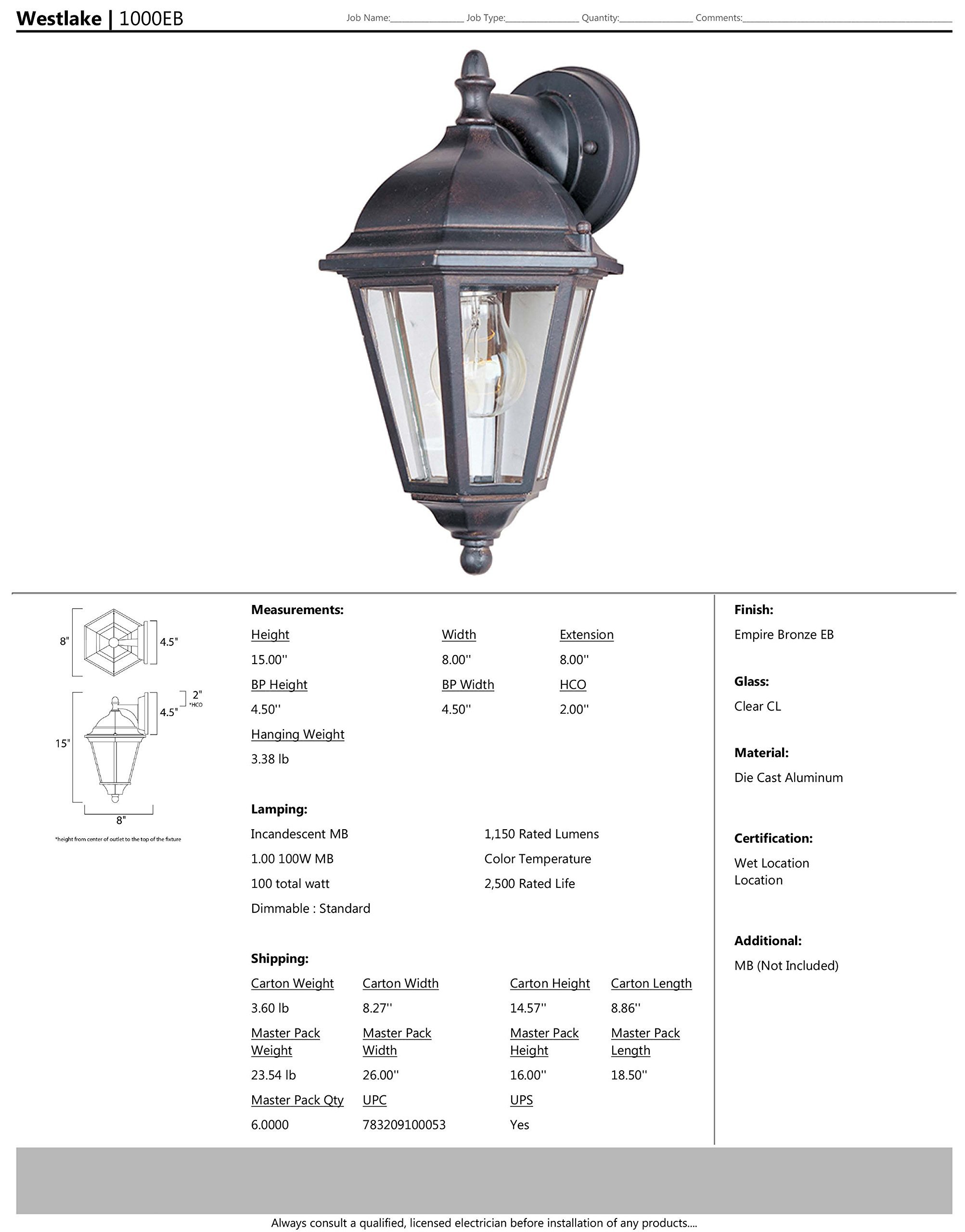Maxim 1000EB Westlake Cast 1-Light Outdoor Wall Lantern, Empire Bronze Finish, Clear Glass, MB Incandescent Incandescent Bulb , 60W Max., Dry Safety Rating, Standard Dimmable, Glass Shade Material, 6048 Rated Lumens by Maxim Lighting (Image #2)