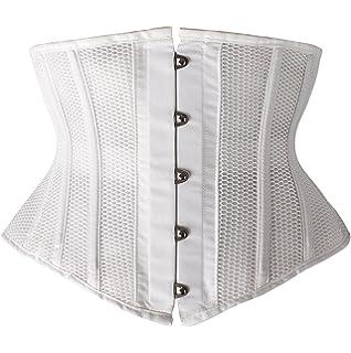 60595bfaab Camellias Women Petite Steel Boned Waist Trainer Underbust Corset Short  Torso Mesh Body Shaper