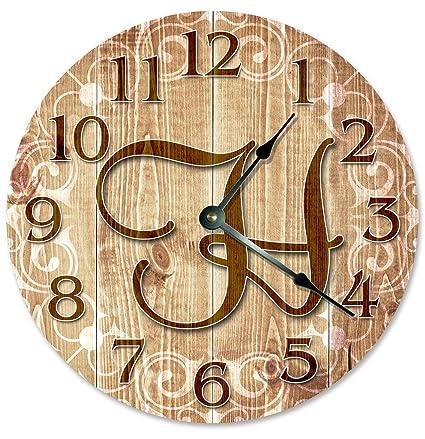 Amazon.com: Sugar Vine Art LETTER H MONOGRAM CLOCK Decorative Round ...