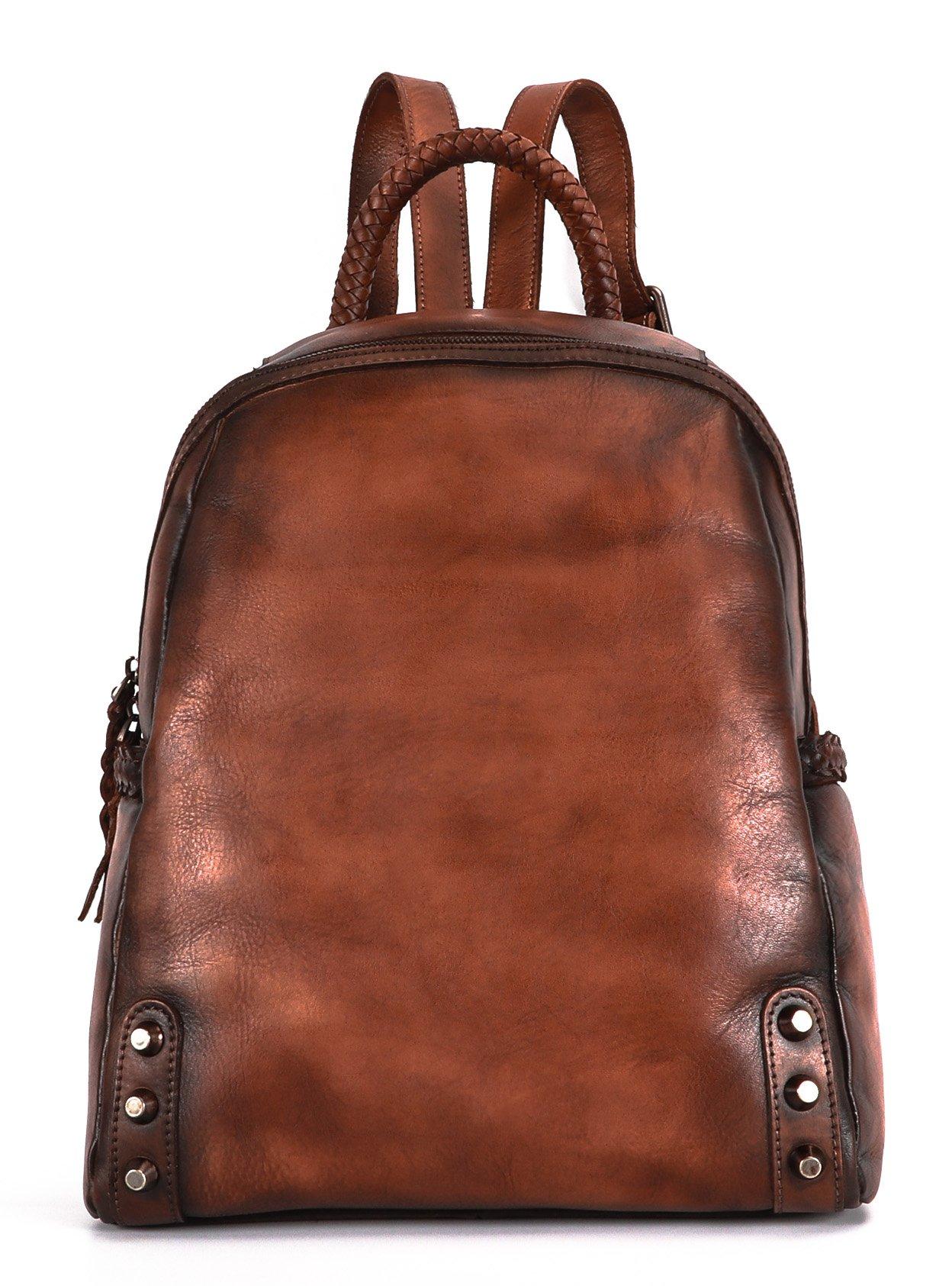 Sophmoda Vintage Style Genuine Cow Leather Backpack Women's Shoulder Bag-A327 (Coffee)