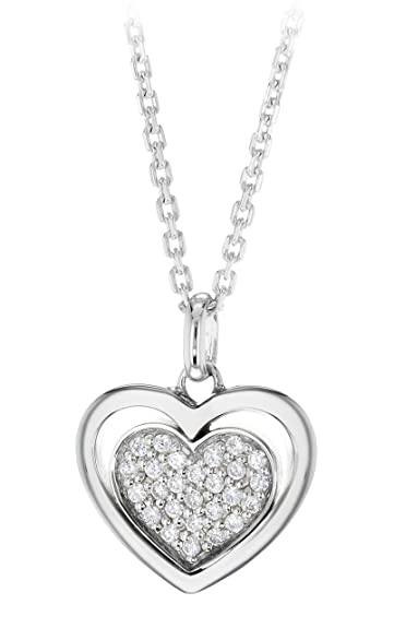 Tuscany Silver Sterling Silver Rhodium Plated Heart Pendant with Cubic Zirconia on Adjustable Chain of 16/18 g2UjN