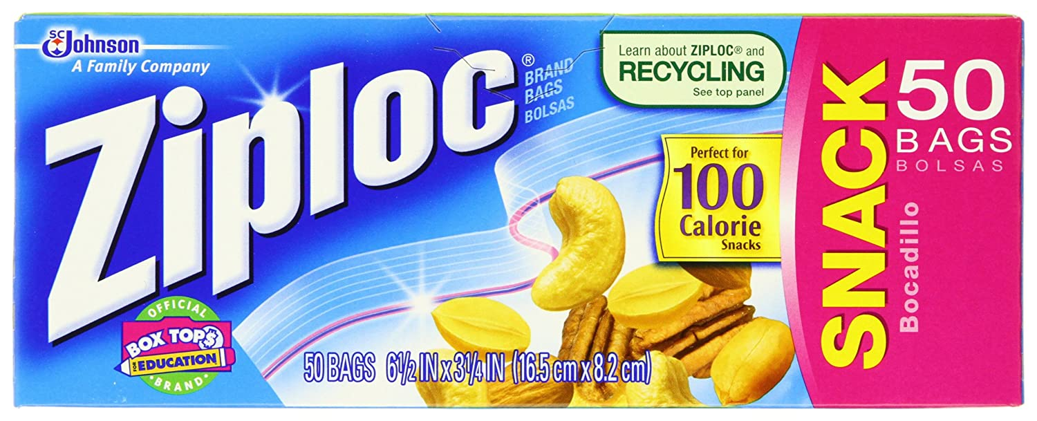 Amazon.com: Ziploc Bag, Snack, 50-Count Boxes (Pack of 12 ...