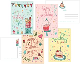 One Jade Lane - Whimsical - Happy Birthday POSTCARDS (Self-mailer) - 40 Cards - Heavy Stock - 4 Designs, 10 of each - Postage Saver.