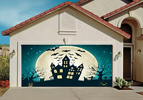 Garage Door Halloween Decorations Cover Decor Bats Pumpkin Night Sky Moon  Bat Billboard Outside Decoration For