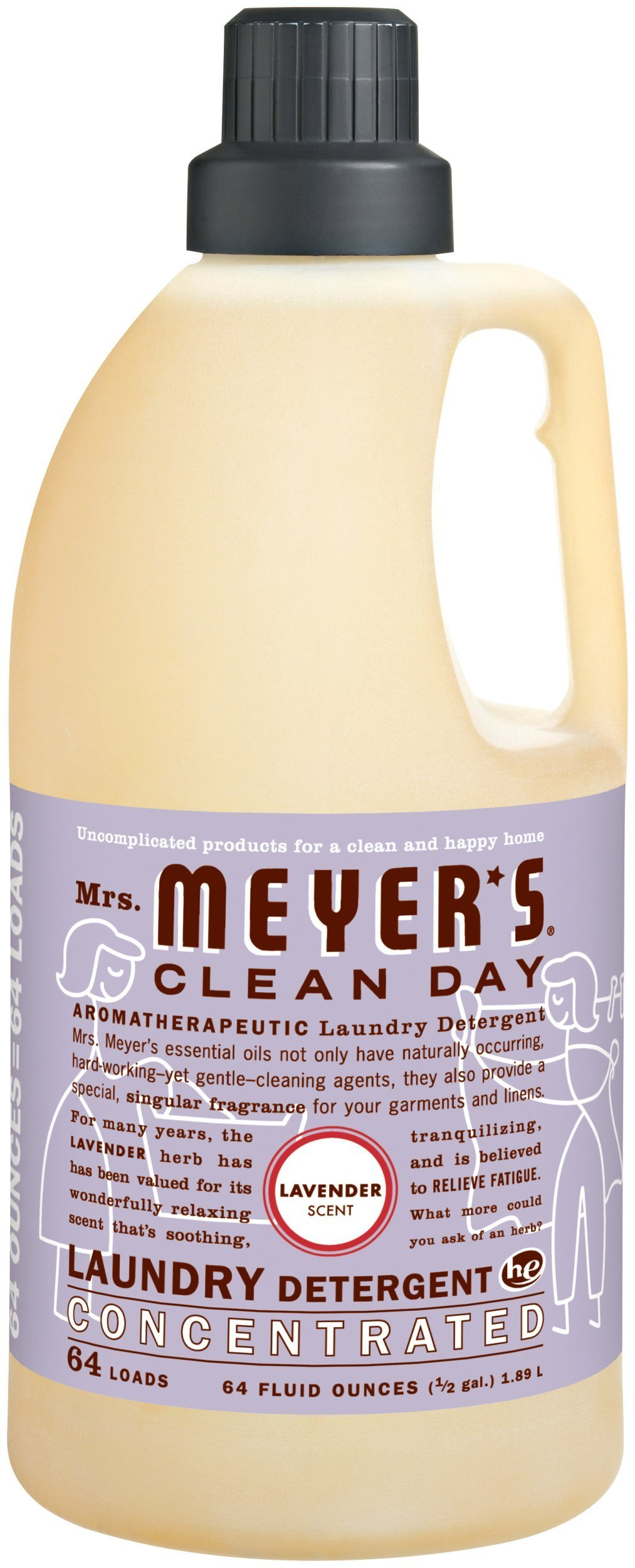 Mrs. Meyer's Clean Day 2x HE Liquid Laundry Detergent, Lavender, 64-Ounce Bottles (Pack of 6)