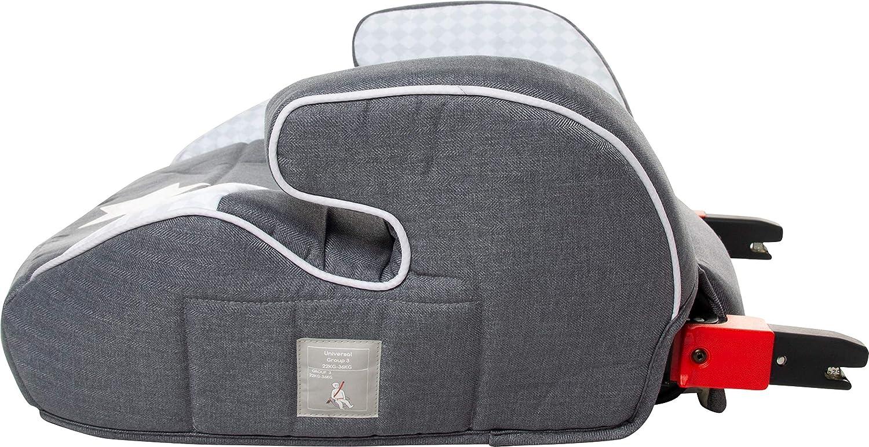 Design:Star Osann Autositz Junior Isofix Sarah Harrison//Sitzerh/öhung mit Isofix//Kindersitzerh/öhung ECE-Gruppe 2//3 15-36 kg//Sitzkissen Kinder 3 bis 12 Jahre//Autositz Kindersitz grau-schwarz