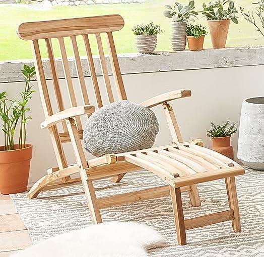 Teakholzmöbel patina  SAM® teak garden deckchair with sanded surface, adjustable sunbed ...