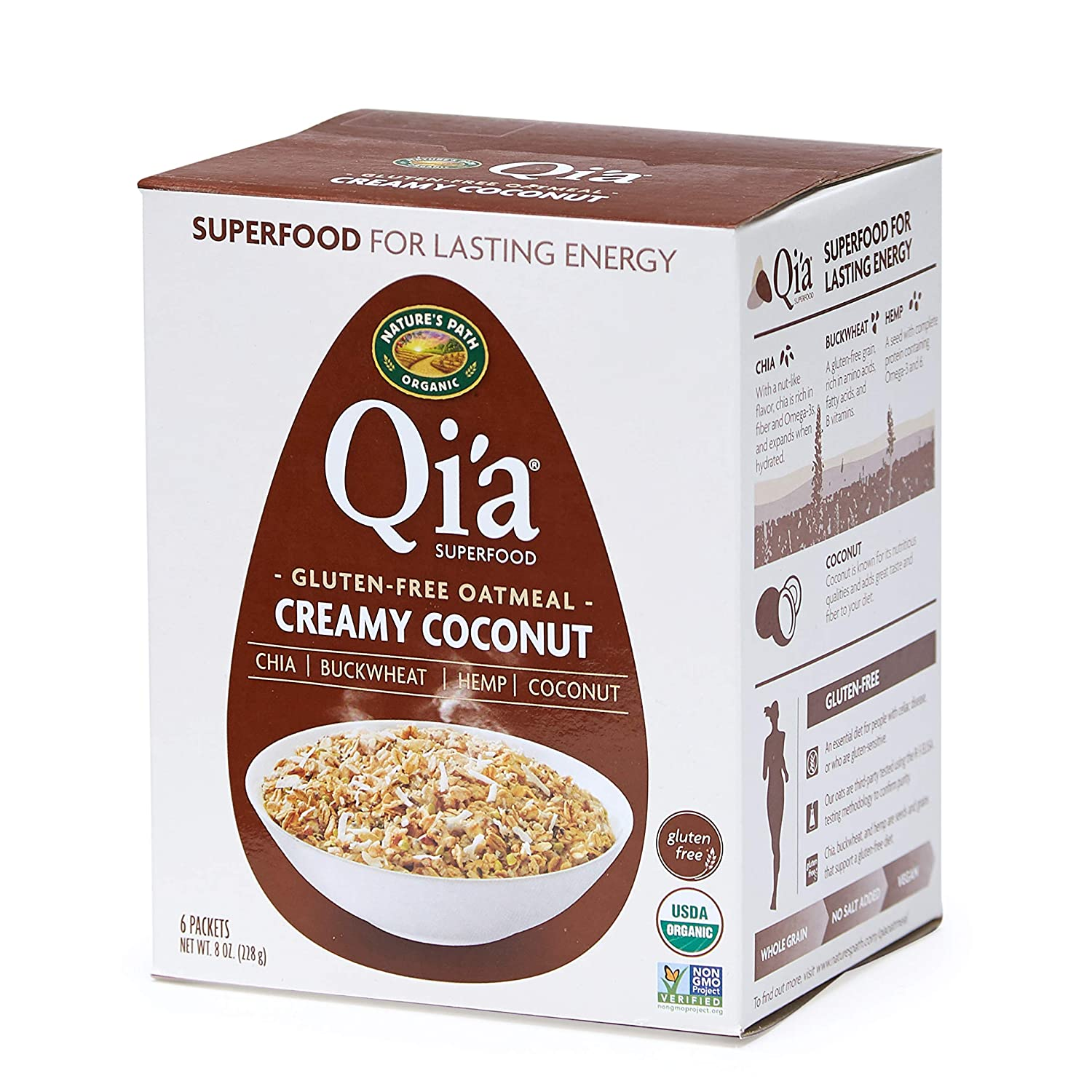 Nature's Path Qi'a Superfood Creamy Coconut Instant Oatmeal, Healthy, Organic & Gluten Free, 6 Pouches per Box, 8 Ounces (Pack of 6)