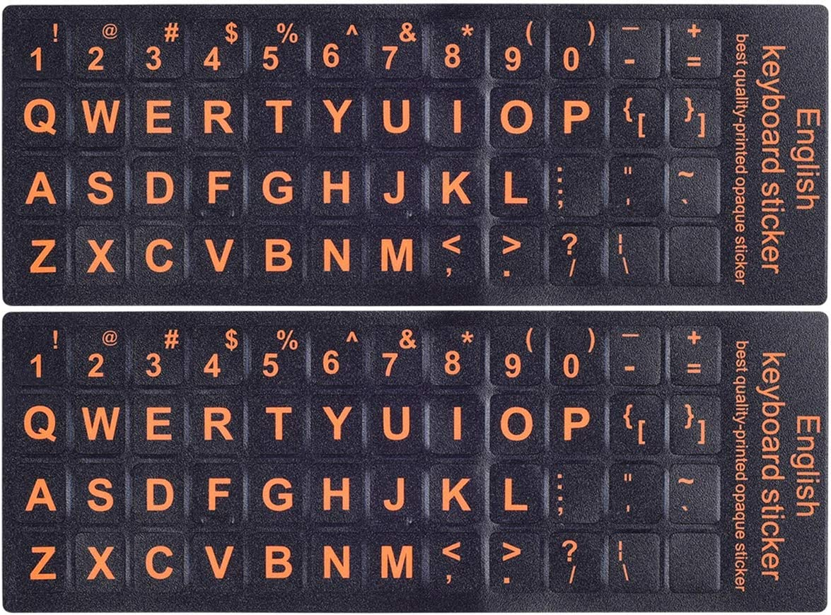 2PCS Pack Universal English Keyboard Stickers(Upper CASE), Keyboard Replacement Sticker Black Background with Orange Large Lettering for Computer Laptop Keyboard, Each Unit Size 0.43 x 0.51 inch