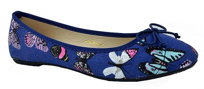64ebfdc7c22372 TATTOPANI Mesdames Motif Papillon coloré sur Ballerines Confort Chaussures  Plates: Amazon.fr: Chaussures et Sacs