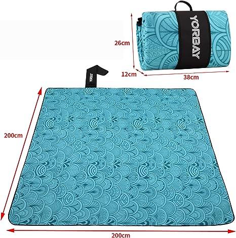 Yorbay 200 x 200cm Manta de Picnic Manta para Playa Extra Grande Camping Plegable Impermeable con fácil Llevar