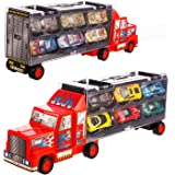 Transport Car Carrier Truck/diecast car Toy for Kids (includes 6 alloy cars,3 animal cars,3 number cars and traffic accessories) …