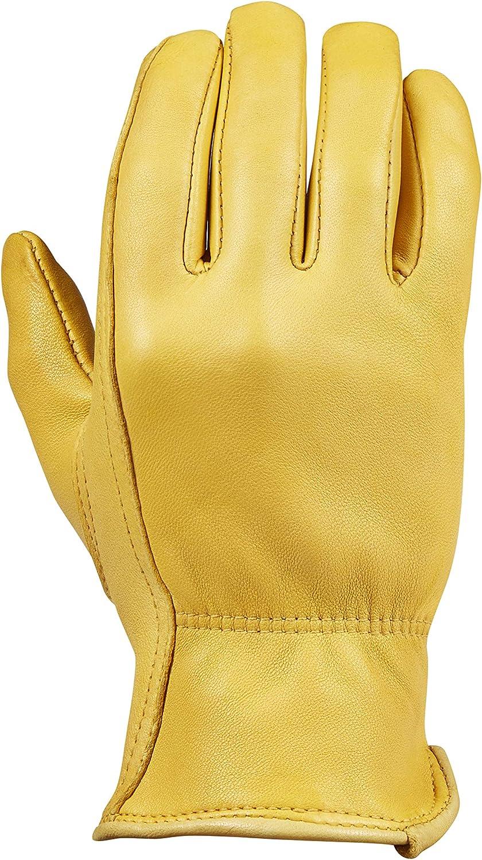 Saranac Woodlands Deerskin Gloves for Women, Gold - Soft, Unlined Leather Work Gloves