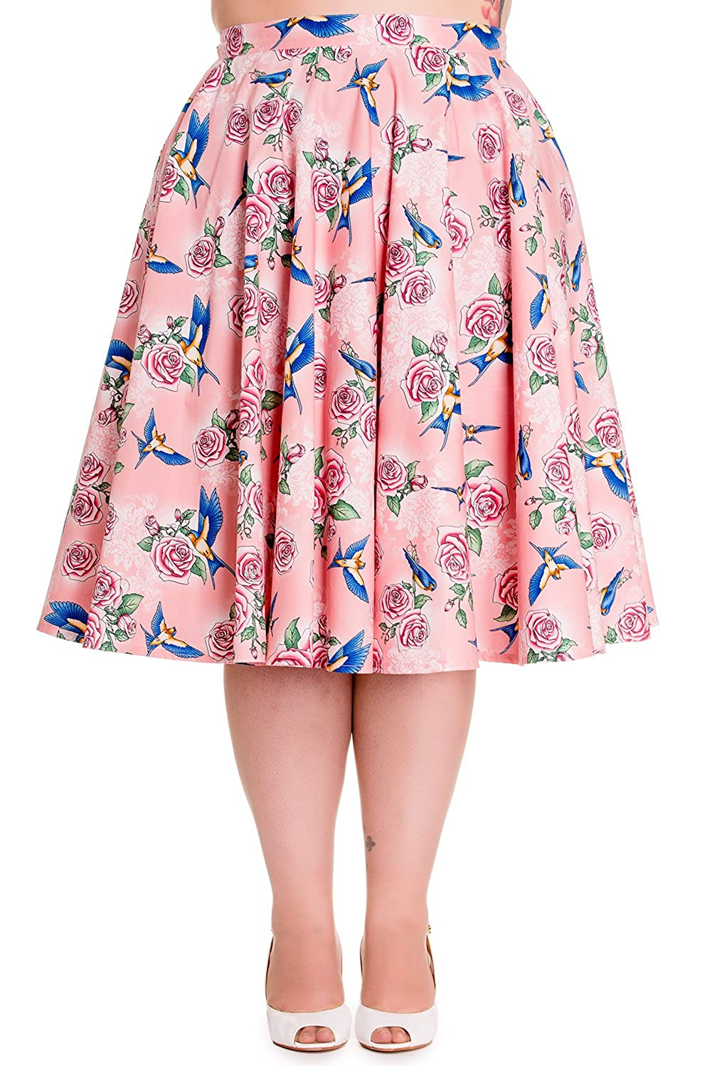 Hell Bunny Plus 50's Retro Vintage Blue Birds and Pink Roses Flare Circle Skirt Pink) HB-5323PLUS