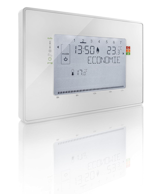 Somfy 2401243 termostato programable con cable Contact Sec, color blanco