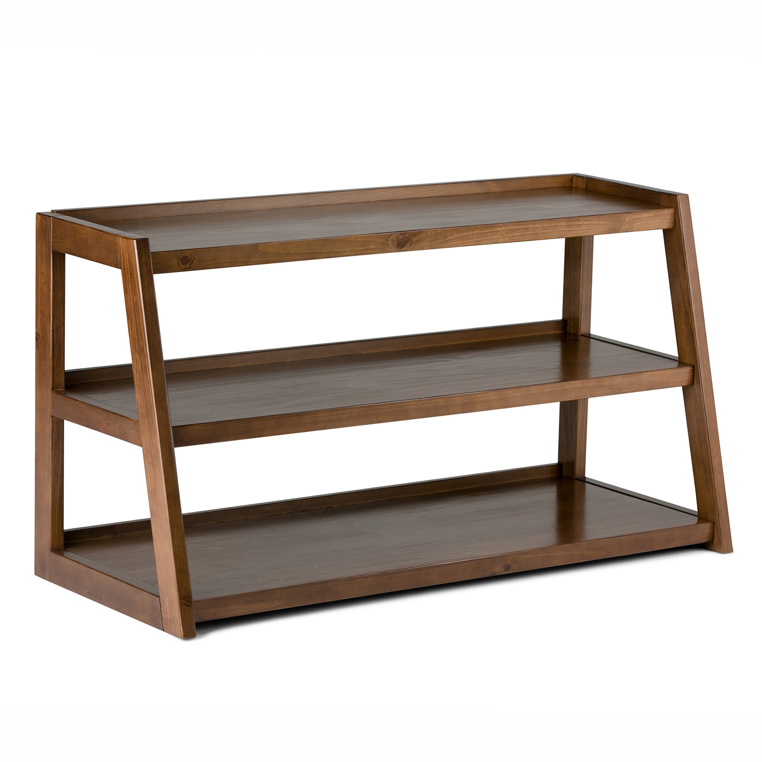 Simpli Home 3AXCSAW-04 Sawhorse Solid Wood 48 inch Wide Modern Industrial TV Media Stand in Medium Saddle Brown  For TVs up to 50 inches by Simpli Home