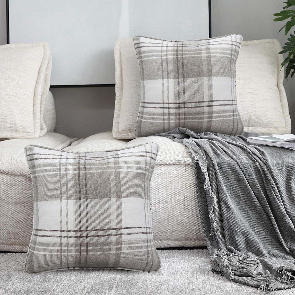 Amazing Alexandra Cole Check Tartan Outdoor Throw Pillow Case Cushion Cover For Farmhouse Sofa Set Of 4 18 X 18 Brown Pabps2019 Chair Design Images Pabps2019Com