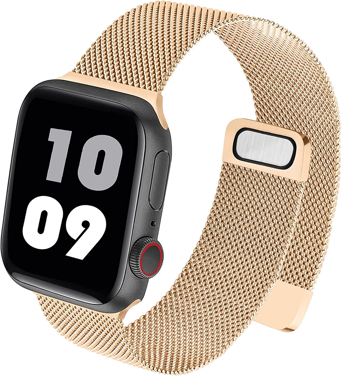 WAAILU Compatible with Apple Watch Band 38mm 40mm 42mm 44mm, Sport Wristband Loop Stainless Steel Mesh Magnetic Clasp Compatible for iWatch Series SE/6/5/4/3/2/1