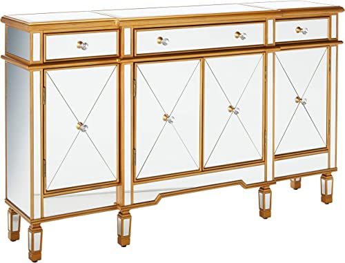 Powell Furniture 3-Drawers 4-Doors Gold and Mirror Console, Red