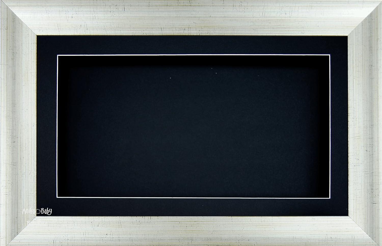Anika-Baby écran 17,8x 33cm/33x 17,8cm Boîte en bois Cadre en effet argenté ancien avec carte Contour noir et dos carte, façade en verre 36,8x 21,6cm 8x 33cm/33x 17 façade en verre 36