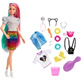 Barbie Leopard Rainbow Hair Doll (Blonde) with Color-Change Hair Feature, 16 Hair & Fashion Play Accessories Including Scrunc