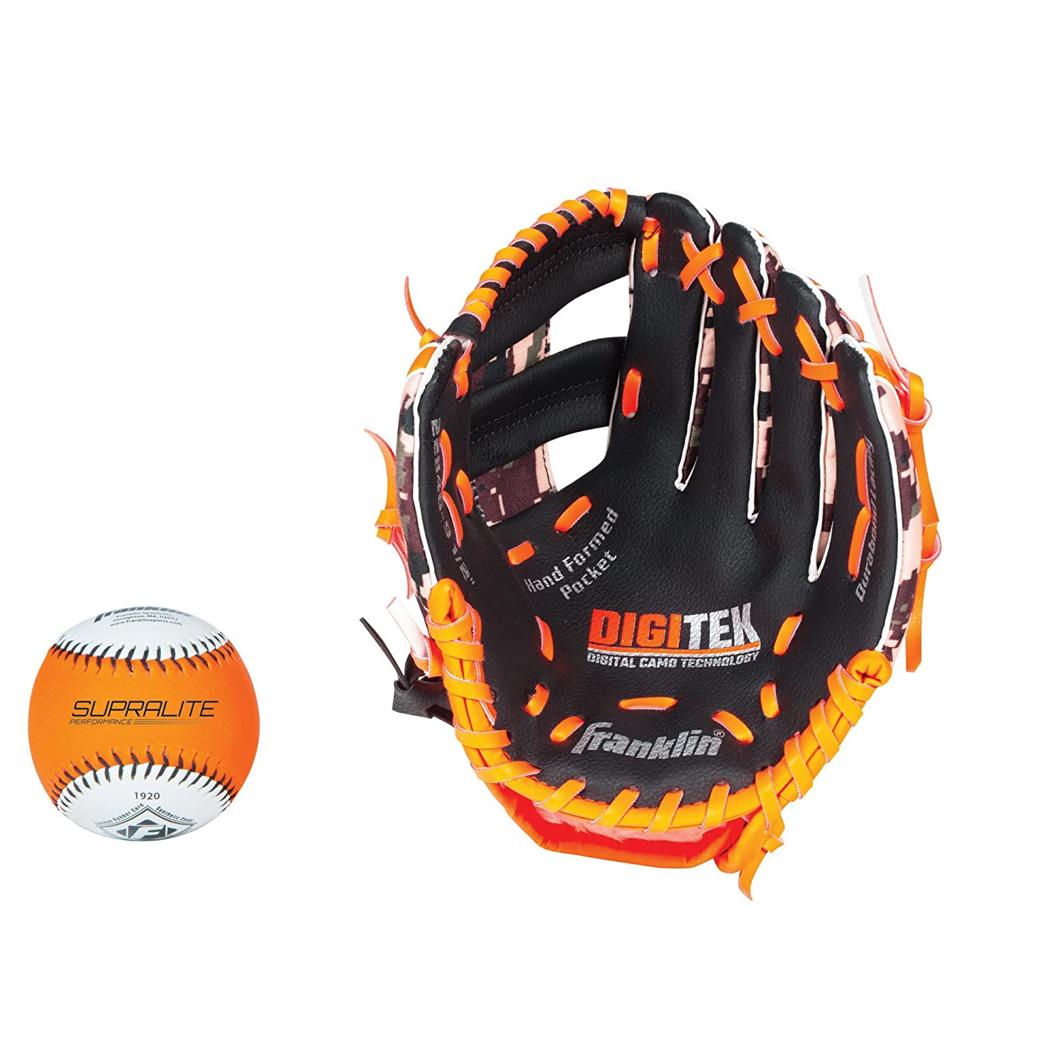 Franklin Sports RTP Teeball Performance Gloves and Ball Combo, 9.5-Inch, Left Hand Throw, Black/Orange 22846L