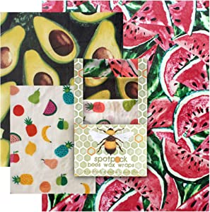 Spotpack - Reusable Beeswax Food Wraps (Pack of 3) | All Natural and Biodegradable Eco Alternative to Food Freshness and Storage | Small, Medium and Large Wraps for Produce and Snacks-Fresh Fruits