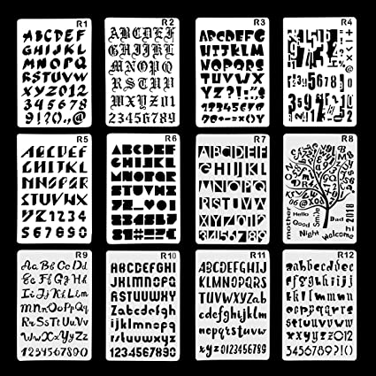 12 Pack Plastic Letters Number Alphabet Bullet Journal Stencil Template,  Perfect for Planner/Notebook/Diary/Scrapbook/Graffiti/Card, DIY Drawing