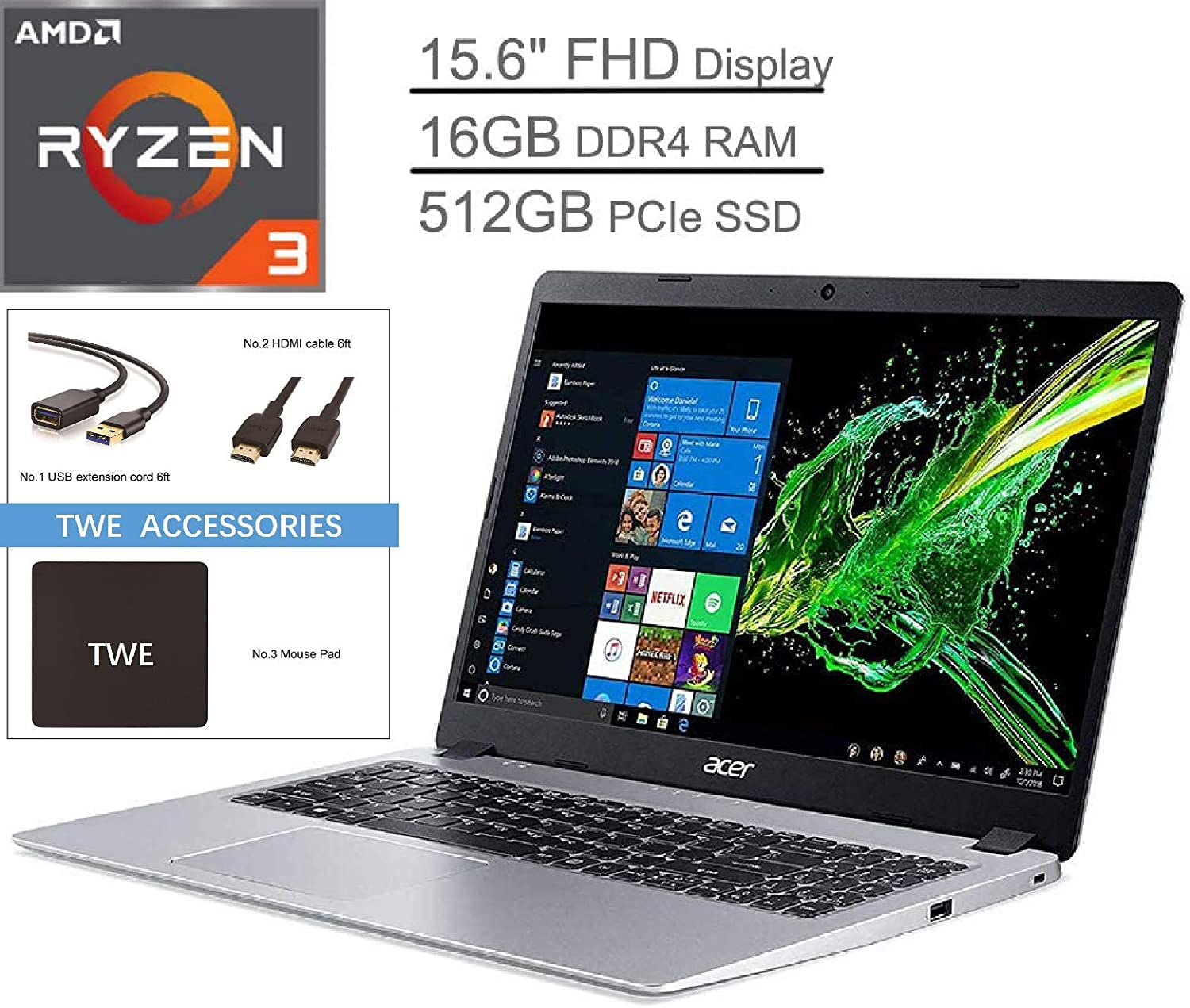"Acer Aspire 5 15.6"" FHD LED-Backlit Display Laptop, AMD Ryzen 3 3200U Up to 3.5GHz, 16GB DDR4, 512GB PCle SSD, 802.11ac, Bluetooth, HDMI, Backlit Keyboard, Webcam, Windows 10 S, TWE Accessory Bundle"