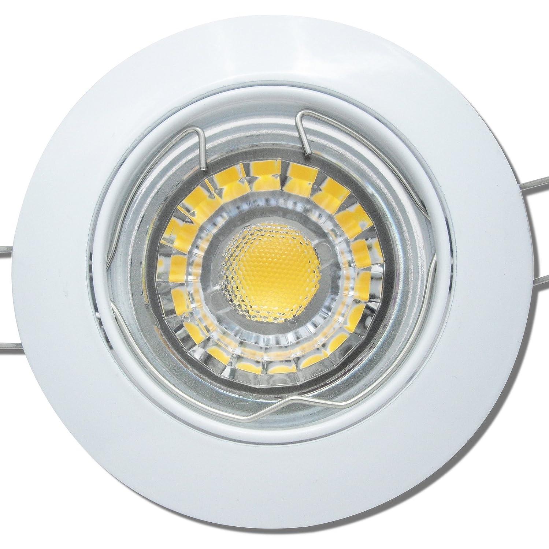 5 Stück MCOB LED Einbauspot Fabian 230 Volt 7 Watt Schwenkbar Weiß Neutralweiß