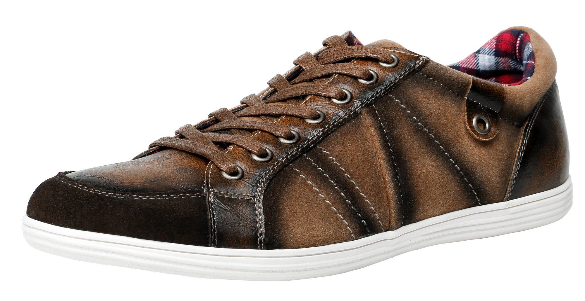 SHENBO Men's Designer Lace up Casual Shoes Men (11, Brown)