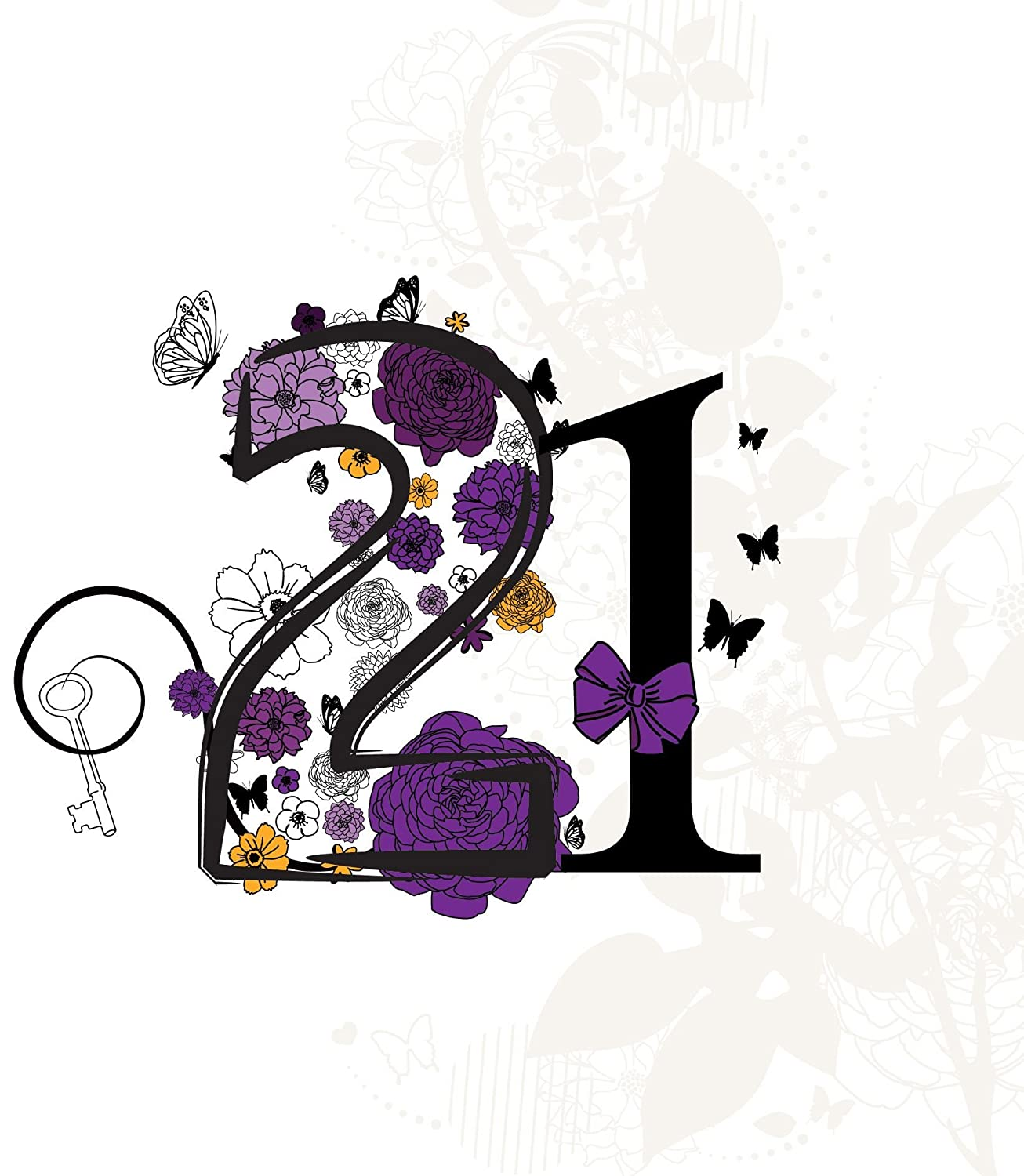 Twizler 21st Happy Birthday Card For Her With Silver Foil Finish