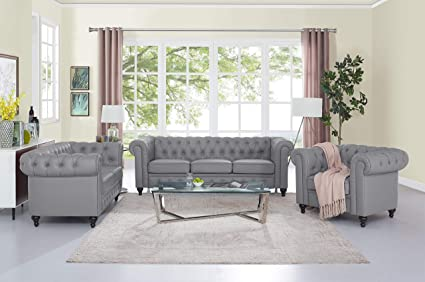 Amazon Com Naomi Home 3 Piece Emery Chesterfield Sofa Set Gray