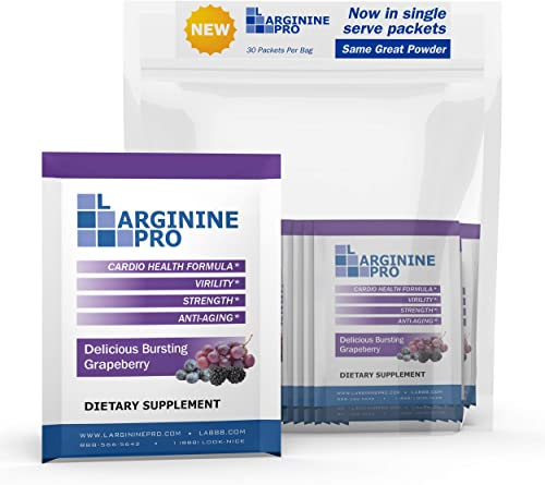 L-arginine Pro Supplement ON-The-GO Single Serve Travel Packets – 5,500mg of L-arginine Plus 1,100mg L-Citrulline 1 Bag 30 Packets , Grapeberry