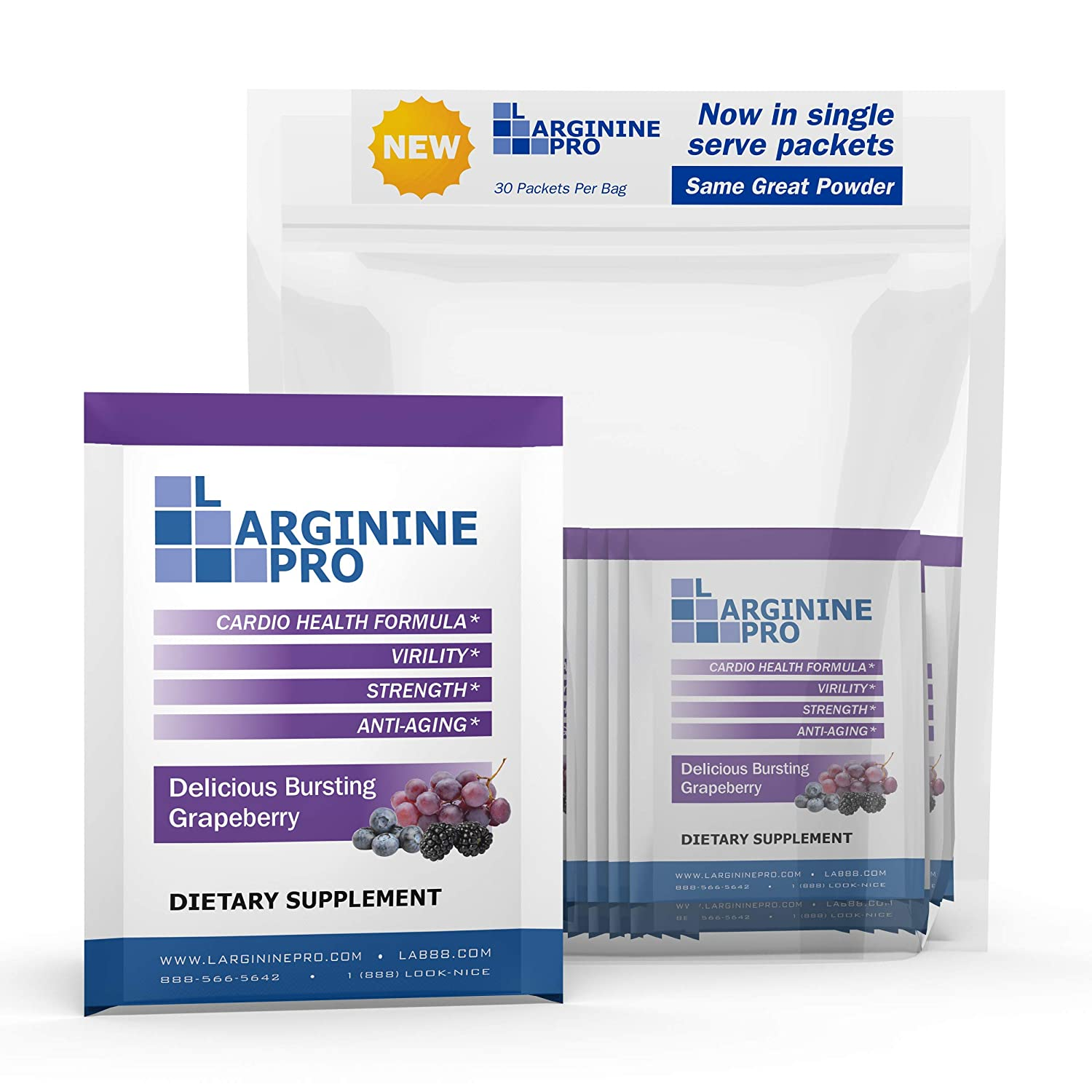L-arginine Pro Supplement ON-The-GO Single Serve Packets 5,500mg of L-arginine Plus 1,100mg L-Citrulline Berry, 30 Single Packs