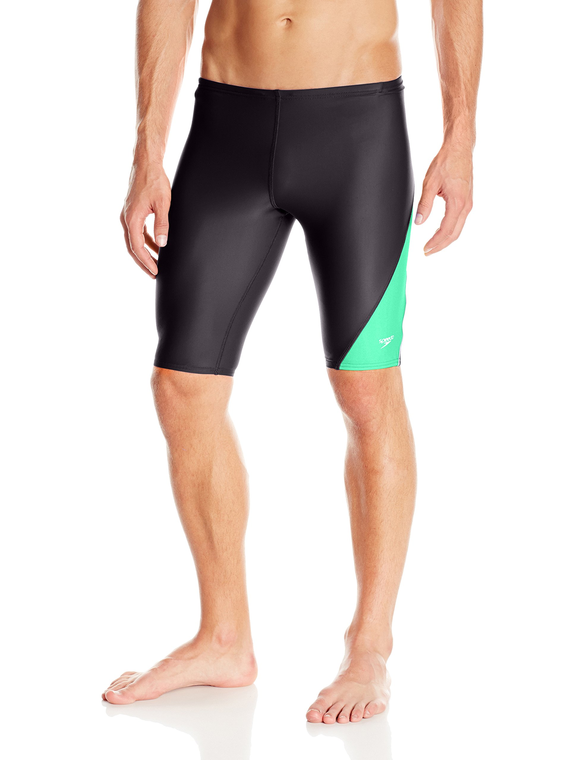 Speedo Men and Boys' Jammer Swimsuit-PowerFLEX Eco Revolve Splice, Green, 30 by Speedo